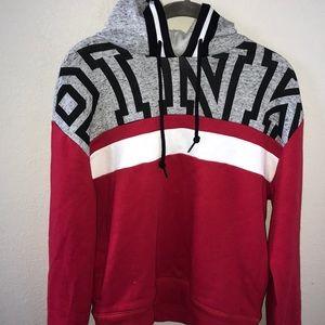Pink Victoria's Secret red slouch neckline hoodie